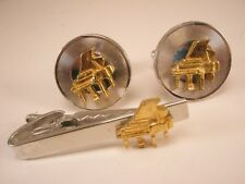Piano Vintage SHIELDS Cuff Links & Tie Bar Clip set gift