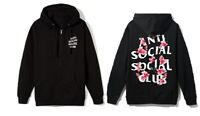 Anti Social Social Club ASSC logo Kkoch Black flower Zip Up Hoodie in hand Bape