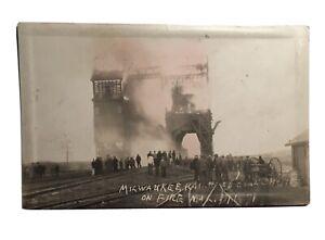 Milwaukee railroad coal shut on fire Bristol SD photograph postcard