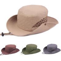 Men's Solid Hunting Camping Sun Hat Wide Brim Fishing Outdoor Bucket Cowboy Cap