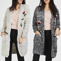 New Women Ladies Open Front Floral Embroidery Knitted Long Cardigan Knitwear