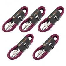 5 x Guitar Lead 6.35mm Mono Jack to Jack / Instrument Cable / 6 Colours / 5 Pack