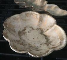 Vtg. L. Bertsch ceramic bowl, Canadian artist, gold wash detail Collectible!