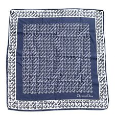 Christian Dior Vintage Square Silk Scarf Trotter Monogram Navy White Authentic