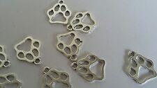 Vrac 50 pcs 19x17mm Argent Tonique Chien Animal Animaux Paw Charms Craft bijoux