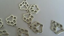 BULK 50 Pcs 19x17mm Silver Toned Dog Animal Pets Paw Charms Craft Jewellery