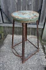 Antique Industrial Drafting Shop Stool - Steel & Wood Top - Footrest - Vintage