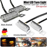 2x Mini Motorrad LED Blinker mit Halter E-Prüfzeichen Universal Quad ATV Roller
