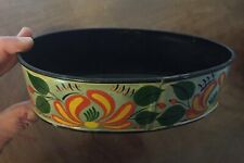 Vintage Paint Decorated Oval Tole Bowl Tray American Federal Empire Style