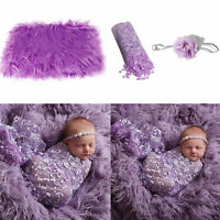 AU_ 3Pcs/Set Newborn Baby Blanket Swaddle Wrap Sheer Headband Photo Props Soft