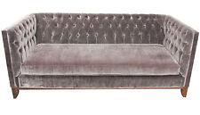 Hand Built Deep Buttoned Club Classic Sofa in Velvet