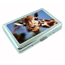 Metal Silver Cigarette Case Holder Giraffe Design 02 Wild Life Zoo Animal Nature
