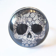 Day of the Dead Glass Bubble Silver Plated Adjustable Ring
