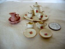 DOLLHOUSE MINATURE TEA SET WITH ROSES AND PINK PITCHER AND BOWL 12 PIECES