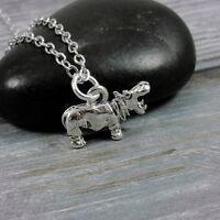 Silver Hippopotamus Necklace - Hippo Charm Jewelry NEW