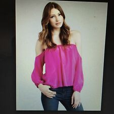 Boullee Off The Shoulder Audrey Special Occasion Silk Blouse Size 0 Magenta.