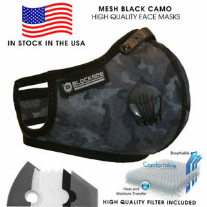 ✅ Reusable Face Mesh Fabric Mask Washable Size L / XL Black Camouflage USA Ship