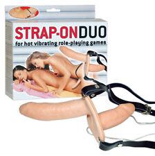 Strap On Duo Doppio Dildo indossabile Pegging Fallo con Vibratore in Latex