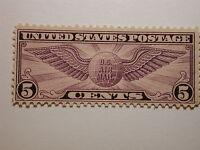 US Scott #C12 5 Cent Winged Globe Airmail Stamp 1930, Never Hinged