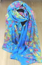 Women's Scarf Blue Flower Print Soft Cotton Voile