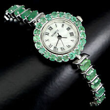 Sterling Silver 925 Genuine Natural Rich Green Emerald Watch 71/2 Inch