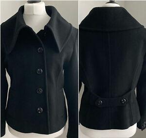 Hobbs Black Coat UK14 Cashmere Wool Short Jacket Button Front Smart Business