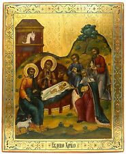 Old Antique Russian Icon of Nativity of Jesus, 19th c