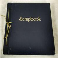 Vintage Scrapbook Paper Blank Pages Large 11 X 14 Unused Cord Bound Navy Blue