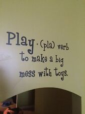 Wall decal  Play mess with toys quote vinyl lettering kids playroom bedroom diy