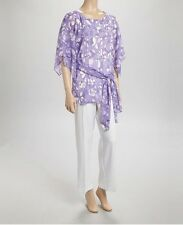 Purple Chiffon Circles Tunic Top White Pants Dress Outfit Set Day to Dinner 18W