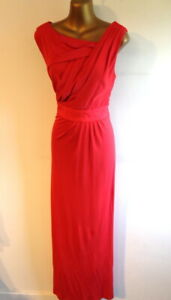 Coast  12/14 Lady in Red full length pleated bodice fitted occasion dress (3421