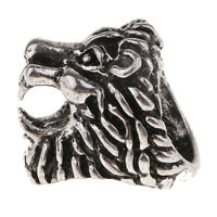 Lion Head Male Smoker Cigarette Holder Nicotine Finger Ring Silver L 18mm