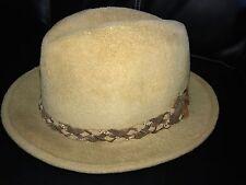 Vtg John B Stetson 4X Beaver Hat Sz 7 Westerner Light Brown Leather Trim