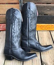 """OLD WEST #20052013 Cowgirl Black Leather 14"""" Western Cowboy Boots Women's 6.5M"""