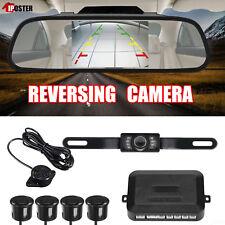"""5"""" Car Rear View Mirror Monitor+License Plate Backup Camera+4 Parking Sensor Kit"""
