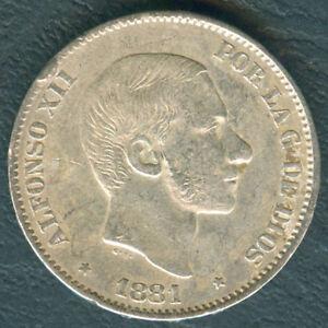 1881 Spanish Philippine ALFONSO XII 50 Centimos De Peso Silver Coin A