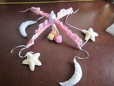 Baby Crib nursery mobile top Moon and stars Pink flower pattern cute bedtime