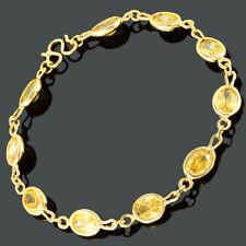 Riva Wedding 18K Yellow Gold Gp Oval Zirconia Yellow Citrine Tennis Bracelet