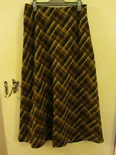 Hobbs 100% Wool Brown Plaid A Line Maxi Skirt in Size 10
