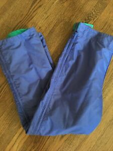 Columbia Vtg Women's Ski Pants L Nylon Teal Purple Reversible 90s Full Side Zip