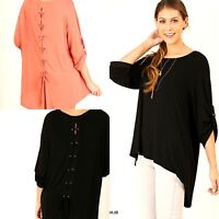 Umgee Top Size XL S M L Solid Black High Low Tunic Free Boho People Womens Shirt