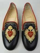 Christian Louboutin Mi Corazon Spiked Flat Black Leather Loafers Women's Size 35