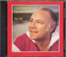 """CLAUDIO VILLA - RARO CD FUORI CATALOGO """" CANZONI CELEBRI VOL.3 """""""