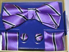 "Pre Tied Bow Tie Set. Purple Striped Bow Tie & Pocket Square & Cuff-links. 2.5"""