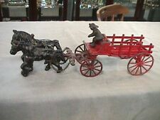 ANTIQUE CAST IRON HORSES & FIRE WAGON & FIREMAN DRIVER