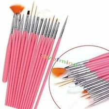 15pcs Conception gel UV acrylique Art Nail Design Dessin Peinture Brush Set Rose