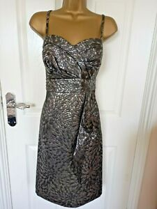 """Debut (debenhams) size 16 Lined strappy shift Dress in Silver/Grey Bust  42"""""""