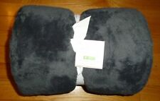 Pottery Barn Plush Faux Fur Cozy Throw Blanket Charcoal Gray 50 x 60 in NWT