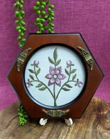 Vtg Handmade Embroidery Pink Gold Flowers Needlepoint Wall Hanging Hexagon Frame