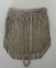 VINTAGE STERLING SILVER CHAIN MAILLE DRAWSTRING PURSE W/ TASSLES - 330 GRAMS